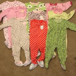Bundle of 9 12 month fleece footie pajamas